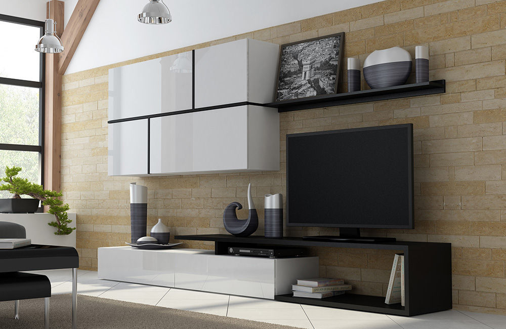 Latest Black Gloss Tv Wall Units Throughout High Gloss Tv Wall Unit Goya – Black/white (View 10 of 20)