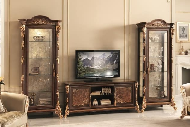 Latest Classic Tv Cabinets In Tv Stand With Display Cabinet, With Gold Leaf Decorations (View 10 of 20)