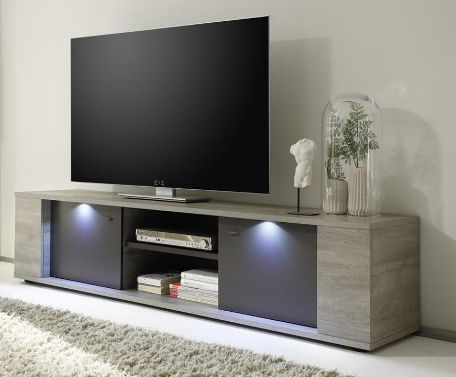 Latest Contemporary Tv Cabinets For Flat Screens Regarding Alberta, Modern Large Tv Cabinet In Grey Oak /grey Finish, Lights (View 7 of 20)