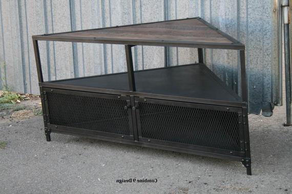 Latest Industrial Corner Tv Stands Intended For Corner Unit Corner Tv Stand. Vintage Industrial Corner (Gallery 1 of 20)