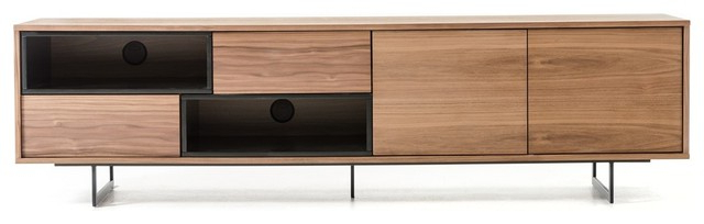 Latest Modern Walnut Tv Stands Throughout Modrest Torlonia Modern Walnut & Black Tv Stand – Contemporary (View 14 of 20)