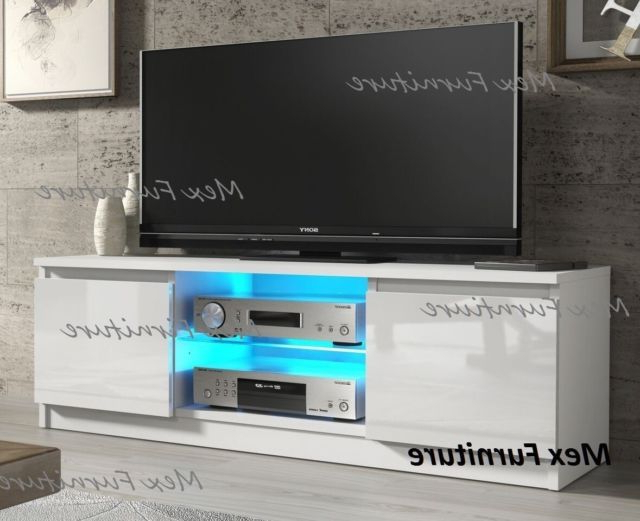 Latest Modern White Tv Stands Regarding 120Cm Modern White Tv Stand Unit Cabinet High Gloss 16 Colors Led (Gallery 10 of 20)