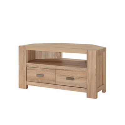 Latest Oak Effect Corner Tv Stand In Debenhams Washed White Oak Effect 'cleves' Corner Tv Unit (View 10 of 20)