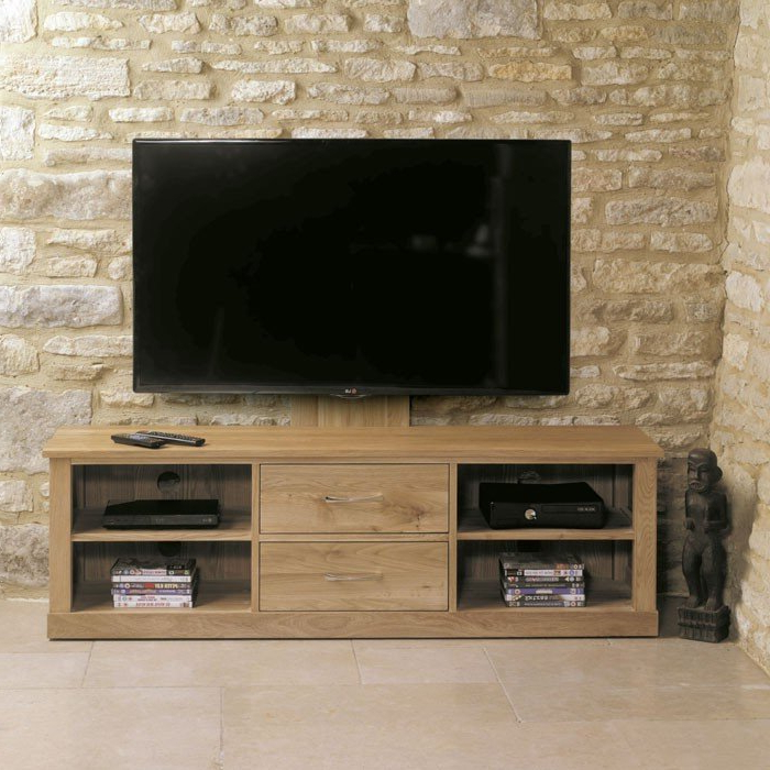 Latest Oak Tv Stands Regarding Baumhaus Mobel Oak Cantilever Tv Stand (Cor09E) (Gallery 14 of 20)