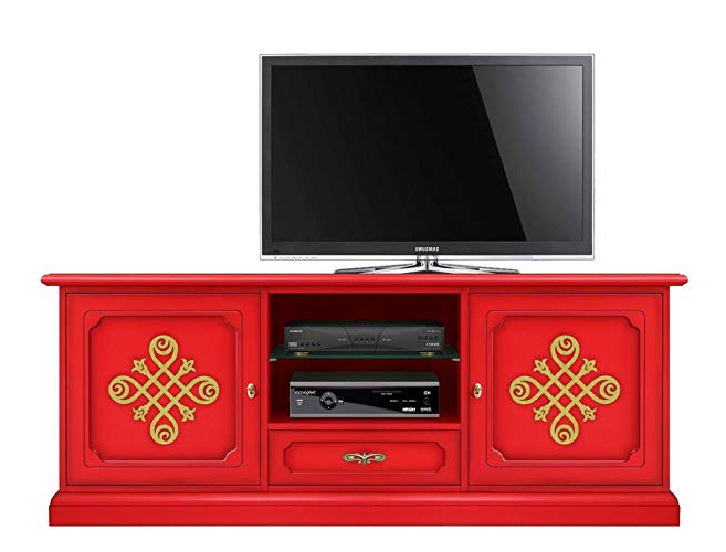 Latest Red Tv Cabinet In Wood, 2 Door Tv Unit Living Room, Red Furniture With Regard To Red Tv Units (View 14 of 20)