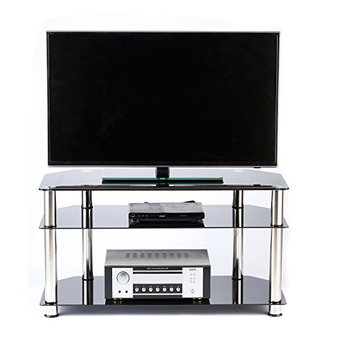 Latest Rfiver Tempered Glass Corner Tv Stand In Black Suit For Led With Tv Stands For Tube Tvs (View 9 of 20)
