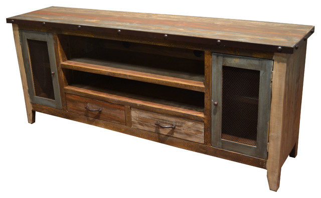 "Latest Rustic Tv Stand Media Center, 76"" – Industrial – Entertainment Inside Rustic Tv Cabinets (Gallery 4 of 20)"