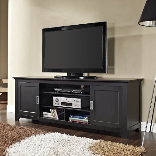 Latest Solid Wood Black Tv Stands Regarding Where To Purchase 70 Solid Wood Tv Stand With Sliding Doors In A (View 12 of 20)