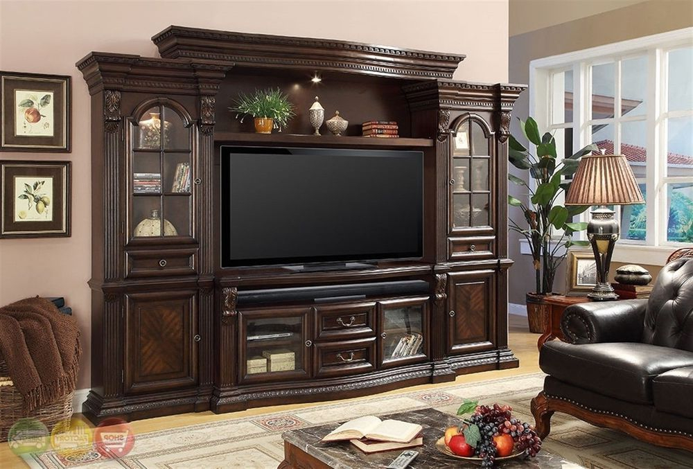 Latest Tv Entertainment Wall Units For Parker House Bella Traditional Dark Wood Entertainment Center  (View 6 of 20)