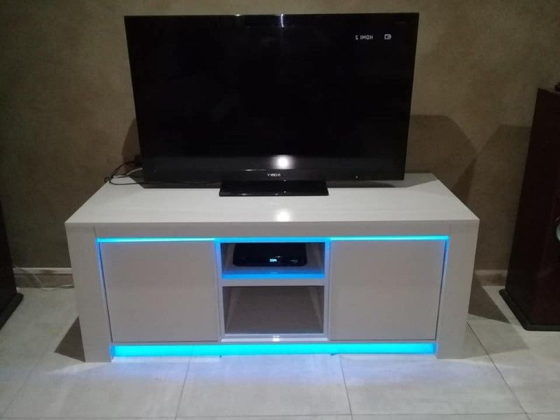 Latest Ultra Modern Tv Stands In Ultra Modern Tv Stand With Led Neon Lights Or White Lights (Gallery 6 of 20)