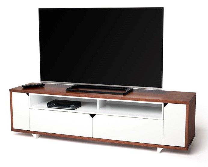 Latest Walnut Tv Cabinets Inside Techlink Sk160Wswt Stark 160Cm Wide Walnut And White Tv Cabinet (407490) (Gallery 4 of 20)