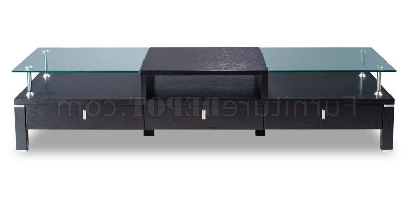 Latest Wenge Color Contemporary Tv Stand With Glass Top For Wood Tv Stands With Glass Top (View 5 of 20)