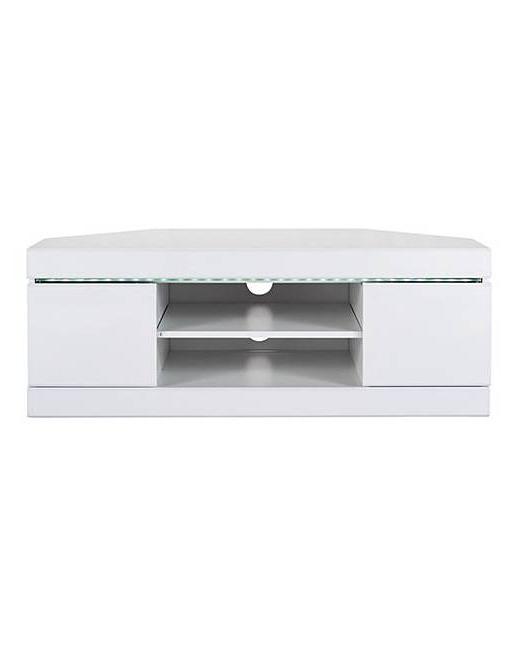 Latest White Corner Tv Cabinets In Halo High Gloss Corner Tv Unit (View 10 of 20)