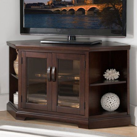 Leick Home Chocolate Cherry And Bronze Glass 46 Inch Corner Tv Stand Pertaining To 2018 Corner Tv Stands For 46 Inch Flat Screen (View 5 of 20)