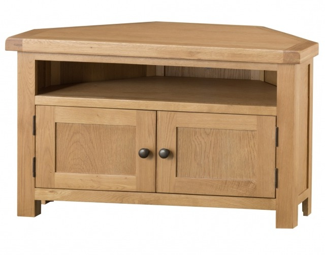 Light Oak Corner Tv Cabinets Regarding Newest Light Rustic Oak Corner Tv Unit – Corner Tv Stands – Furniture World (View 8 of 20)
