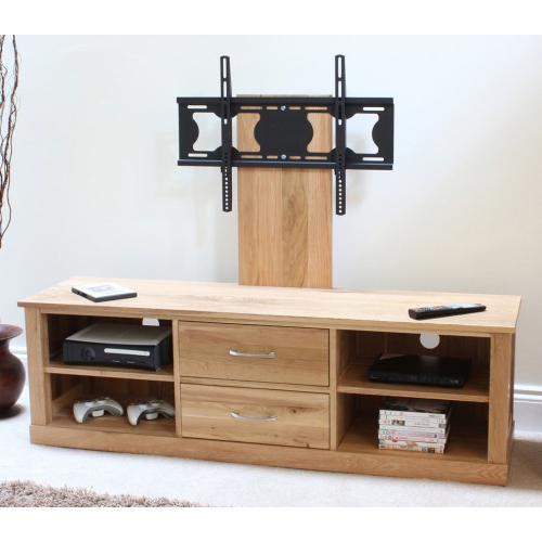 Light Oak Tv Stands Flat Screen Pertaining To Most Up To Date Mobel Oak Flat Screen Tv Stand With Mount (View 6 of 20)