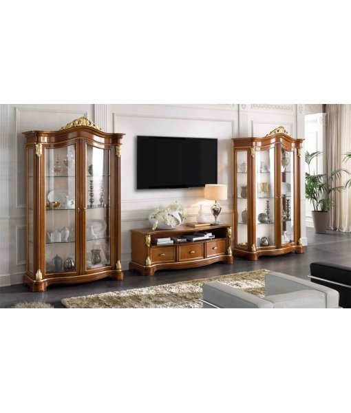 "Lime Wood Tv Unit ""lumiere"" 3 Drawers – Ferrettohome Inside Trendy Classic Tv Cabinets (View 12 of 20)"