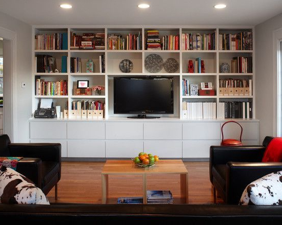 Living Room Design For Tv Stands And Bookshelf (View 3 of 20)