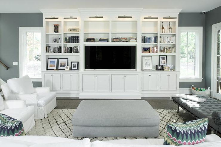 Living Room Tv Cabinets Regarding Recent White Living Room Tv Cabinet With Nickel Picture Lights (Gallery 14 of 20)