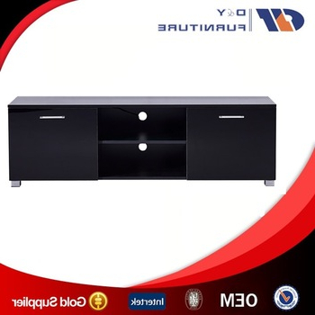 Livingroom High Gloss Black Tv Stand,tv Unit,cabinet W/ Shelves In Preferred Shiny Black Tv Stands (Gallery 19 of 20)