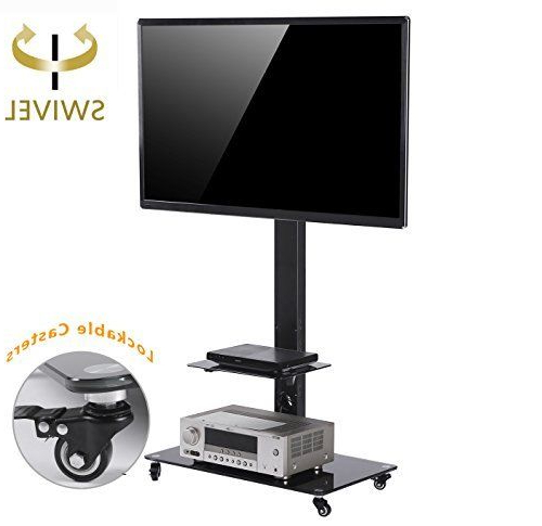 Lockable Tv Stands With Regard To Well Liked Tavr Moblile Floor Tv Stand Cart With Audio Shelf And Heavy Duty (Gallery 11 of 20)