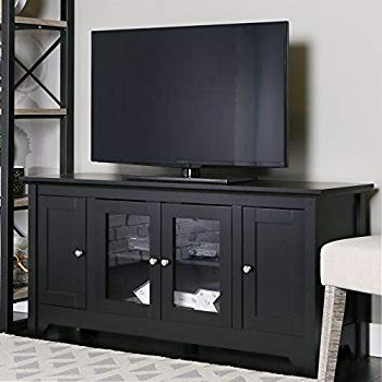 "Long Black Tv Stands Regarding 2017 Amazon: Walker Edison 53"" Wood Tv Stand Console With Storage (Gallery 10 of 20)"