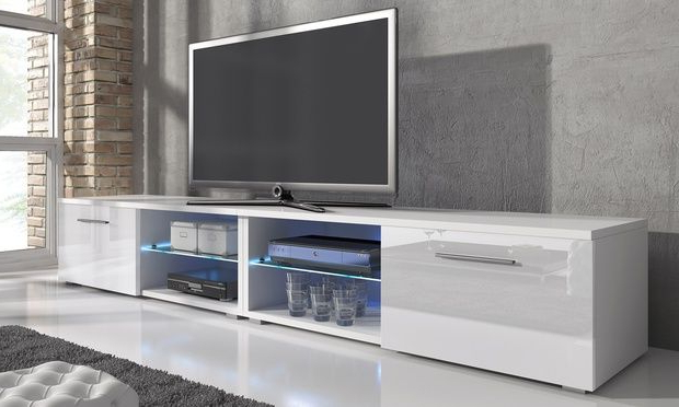 Long Tv Stand For Modern Tv Cabinets With White Tv Stand Together Regarding Favorite White Tv Cabinets (View 7 of 20)