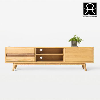 Long Tv Stands Furniture Pertaining To Most Recently Released Hanm Design Oak Long Wood Tv Cabinet With Showcase Modern Tv Stand (View 9 of 20)