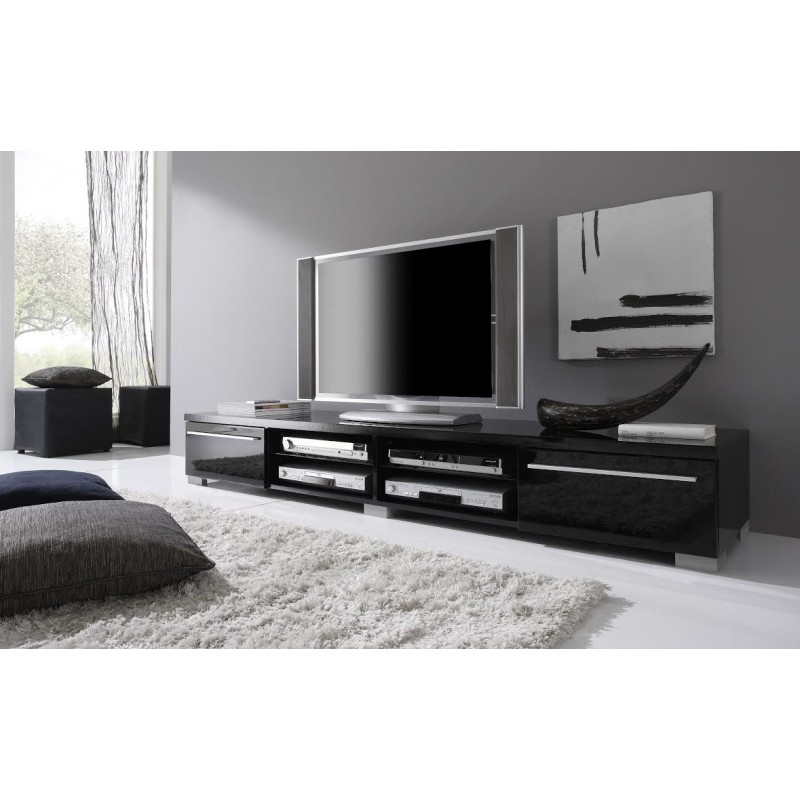 Long Tv Stands With Regard To 2017 Long Tv Stand With Black Contemporary Tv Base In Lacquers Made Italy (View 9 of 20)
