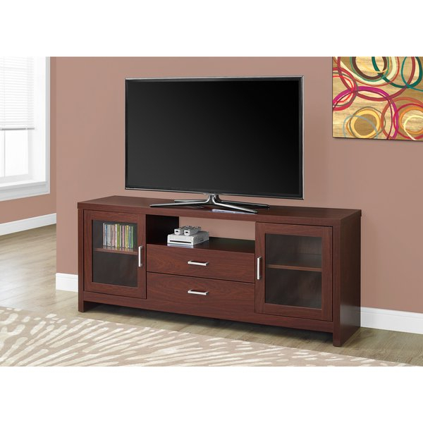 Long Tv Stands Within Famous Shop Warm Cherry Glass/mdf/metal 60 Inch Long Storage Tv Stand (Gallery 11 of 20)