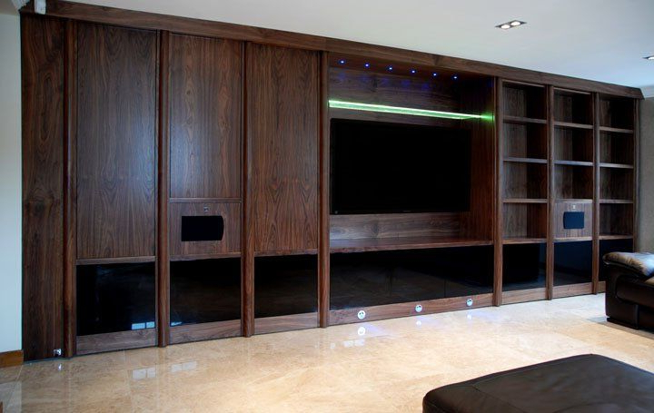 Low Level Tv Storage Units Intended For Popular Wall To Wall Media Centre With Storage And Low Level Lcd Lighting (Gallery 9 of 20)