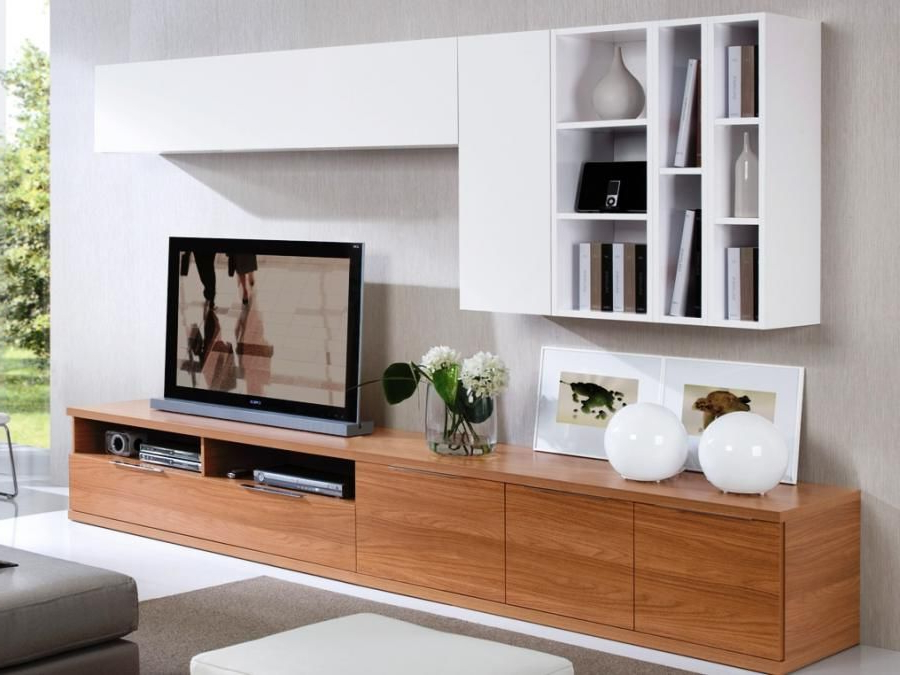 Low Walnut Tv Unit With 2 White Wall Cabinets And Display Areas Throughout Recent Tv Wall Cabinets (View 8 of 20)