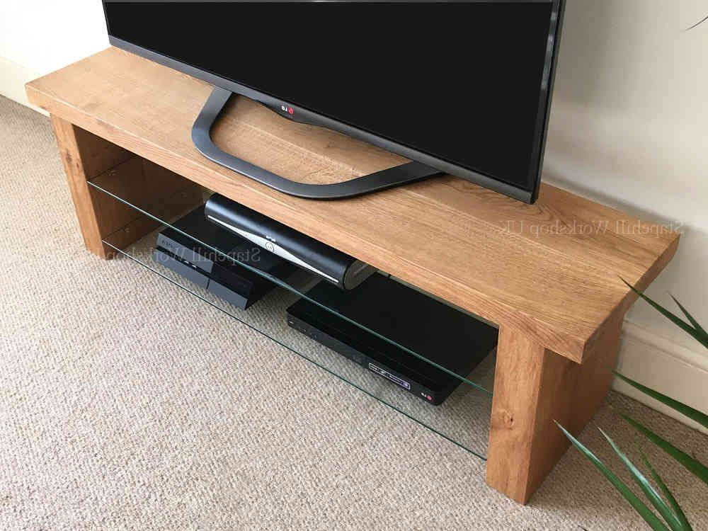 Lulworth 40 Oak And Glass Slim Tv Stand Unique, Rustic Thick And With Regard To Most Recent Glass And Oak Tv Stands (View 10 of 20)