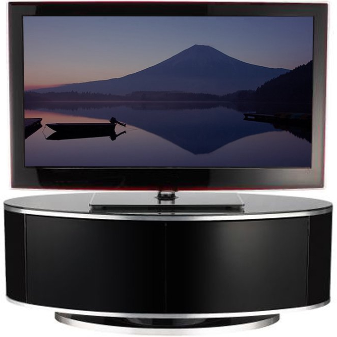 Luna High Gloss Black Oval Tv Cabinet Regarding Most Current Black Glass Tv Cabinets (View 11 of 20)