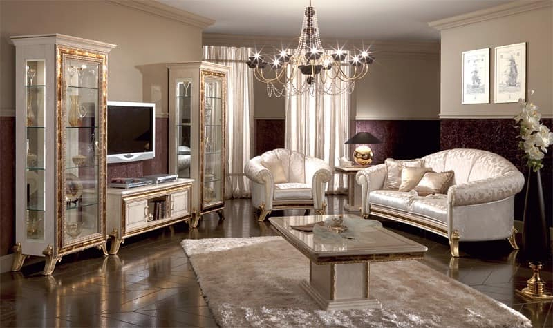 Luxury Tv Stands Within Most Up To Date Luxury Tv Stand, Lacquered Pearl White With Gold Ornamentation (Gallery 11 of 20)