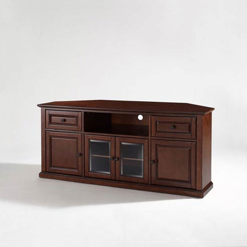 Mahogany Corner Tv Stands Throughout Fashionable Crosley Furniture 60 Inch Corner Tv Stand In Vintage Mahogany (View 13 of 20)