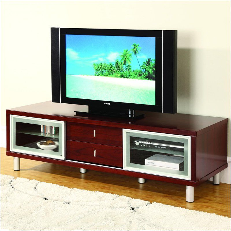 Mahogany Tv Cabinets Within Newest Global Furniture Usa 64 Inch Tv Cabinet In Mahogany – M720tv M (View 4 of 20)