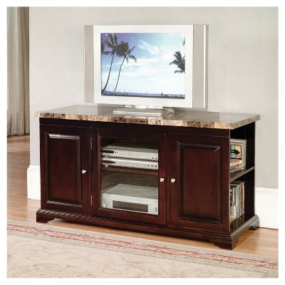 Mahogany Tv Stands For Newest Mdf Wood 24 Tv Stand With Faux Marble Top – Mahogany – Home Source (View 8 of 20)