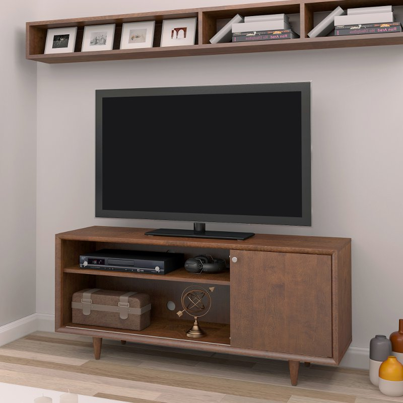 Mahogany Tv Stands Regarding Most Up To Date Mid Century Modern Mahogany Tv Stand (54 Inch) – Fairgrove (View 12 of 20)