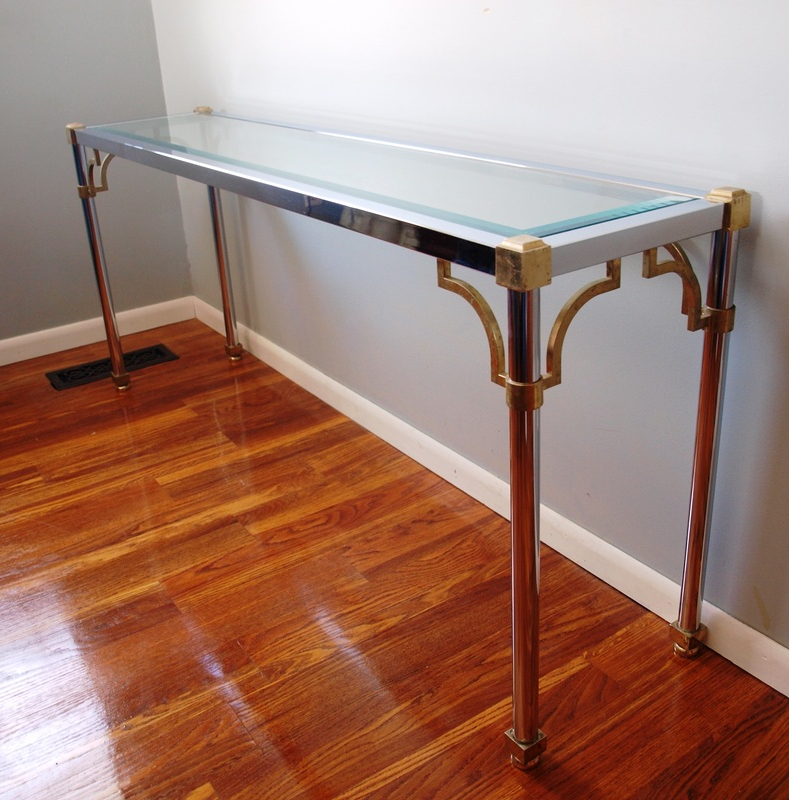 Maison Jansen Chrome & Brass Console Table – Julesmoderne Inside Recent Phillip Brass Console Tables (Gallery 16 of 20)
