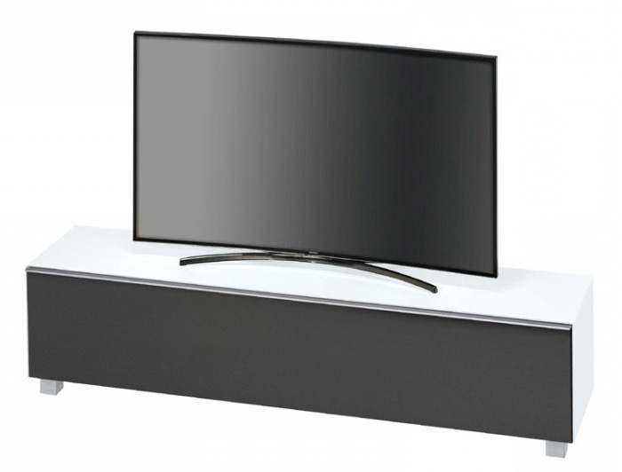 Maja Sound Concept 7738 3673 Matt White Glass Tv Stand With Black Pertaining To Most Popular White Glass Tv Stands (View 17 of 20)