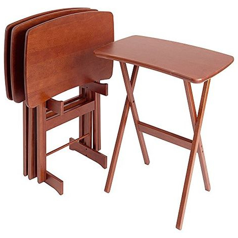 Manchester Wood Contemporary Cherry Tv Tray Table Set Of 4 Intended For Most Popular Folding Tv Trays (View 15 of 20)