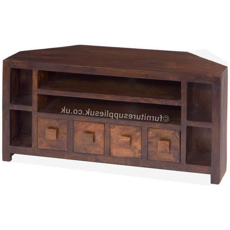 Mango Dakota Corner Tv Unit/ Stand (Medium Walnut) Solid Wood With Trendy Solid Wood Corner Tv Cabinets (View 17 of 20)