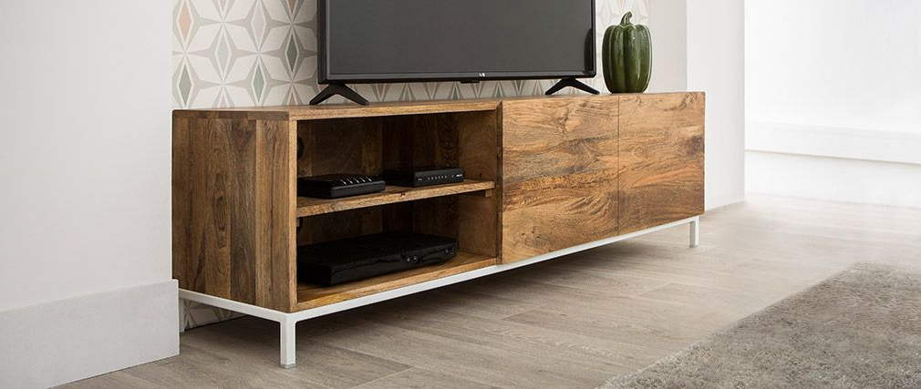 Mango Tv Stands Throughout Well Known Boho Designer Tv Stand In Mango Wood And White Metal 145cm – Miliboo (View 12 of 20)