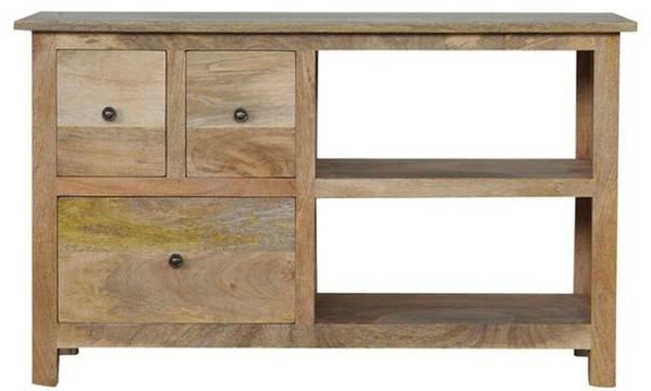Mango Wood Tv Stands Throughout Trendy Mango Wood Tv Stand With 3 Drawers And 2 Shelves (Gallery 7 of 20)
