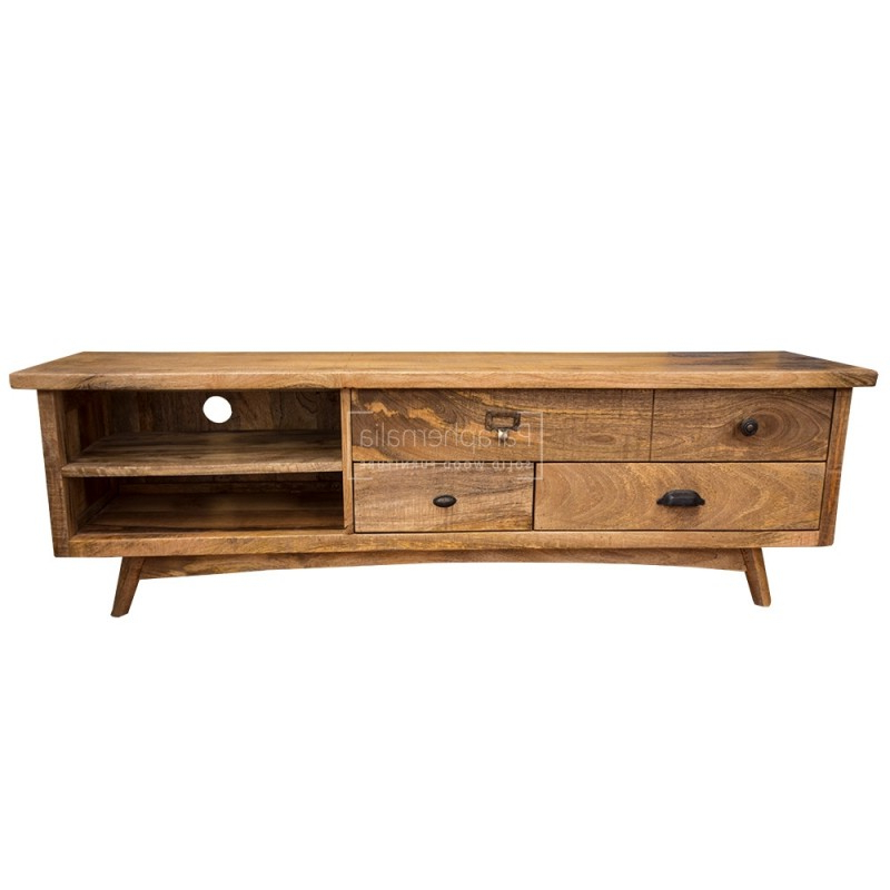 Mango Wood Tv Stands With Regard To Current New York Rustic Mango Funky Tv Stand – Rustic Polished Mango (View 3 of 20)