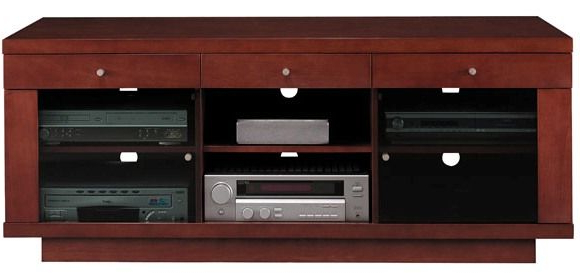 Maple Tv Stands For Flat Screens For Newest Bush Vs13588 03 Cognac Maple Finish Edgewood Collection Flat Panel (View 3 of 20)