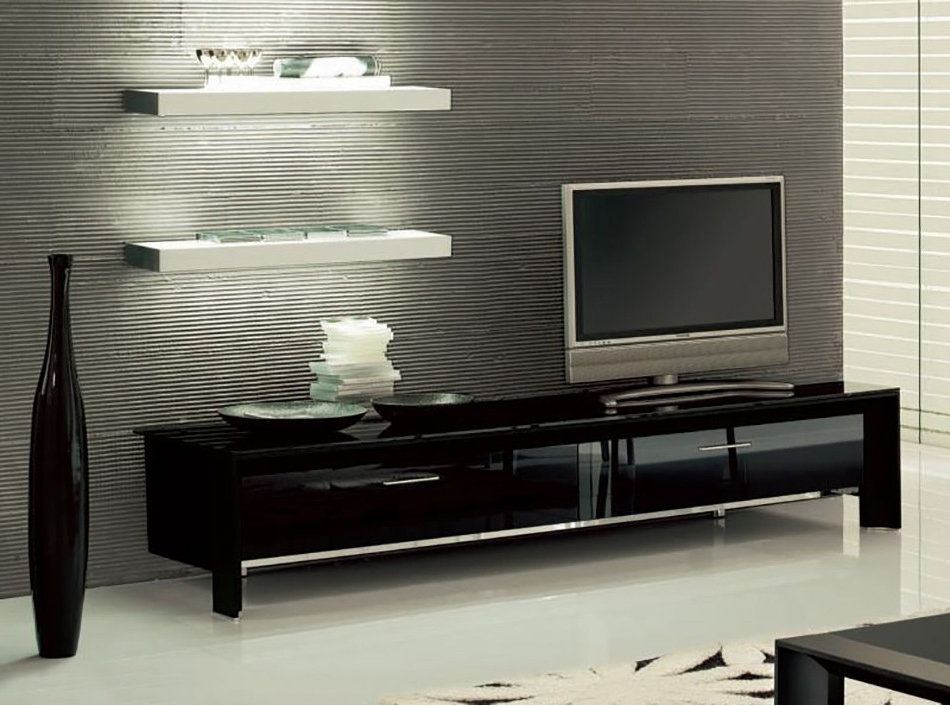 Miami Tv Standtonin Casa – Tv Stands – Living Room In Fashionable Black Tv Stand With Glass Doors (View 3 of 20)