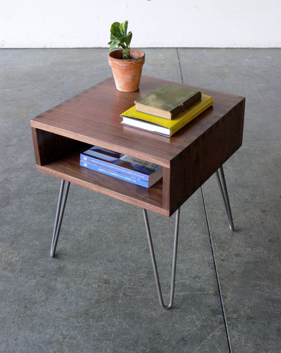 Mid Century Modern Inspired Walnut Box Joint Side Table W/ Hairpin For Trendy Scattered Geo Console Tables (View 8 of 20)