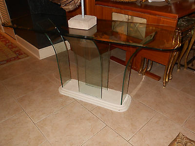 Mid Century Style, Milo Baughman Era, Waterfall  Curved  All Glass With Regard To Widely Used Era Glass Console Tables (View 12 of 20)